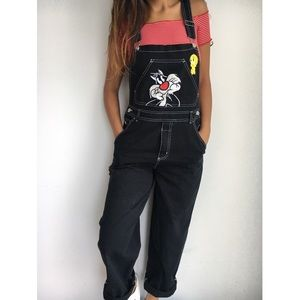LOONEY TUNES vintage tweety jumper bib overalls M